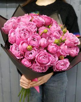 15 Розовых Роз Кустовых Пионовидных