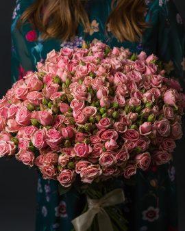 35 Розовых Роз Кустовых