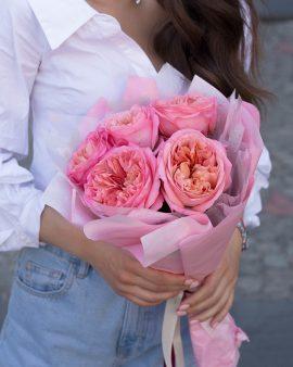 5 Розовых Роз Пионовидных