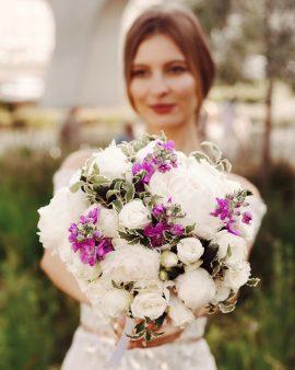 """Букет невесты """"Пион и Роза"""""""